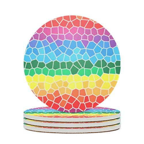 Ftcbrgifk Posavasos de cerámica con diseño de entramado de arco iris, antideslizantes, con base de corcho antiarañazos, color blanco, 4 piezas