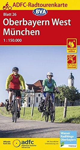 Preisvergleich Produktbild ADFC-Radtourenkarte 26 Oberbayern West / München 1:150.000,  reiß- und wetterfest,  GPS-Tracks Download (ADFC-Radtourenkarte 1:150000)