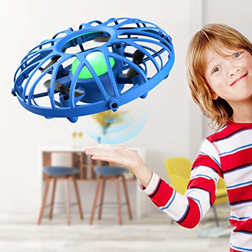 Mini Drones for Kids, EACHINE E111 Hand Operated Induction Levitation UFO Flying Ball Mini Drone Easy Play Indoor and Outdoor Scoot Hover Drone Helicopter Toy for Boys and Girls (Blue)