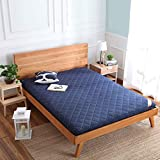 Thick Premium Mattress pad, Japanese Futon Tatami mat Sleeping,Quilted Fitted Mattress for Student Dormitory,Home-Blue Queen
