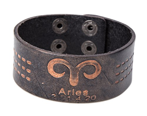 Fashion Aries Constellations Leather Bracelet Adjustable Button Unisex Bangle Wristband (Black)