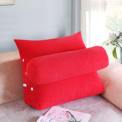 Coussins Mmm- Lit Bureau Canapé Triangulaire Chevet Dossier Ceinture Pad Garde-Cou (Couleur : Rouge, Taille : 60 * 50 * 20cm)