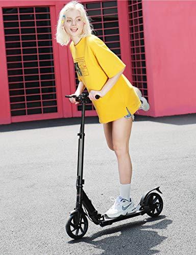 YF-Mirror Scooter para Adultos Patinete de 61 cm para niños de 8 años en adelante Patinetes de Aluminio Plegables y Ajustables con diseño de Freno Trasero