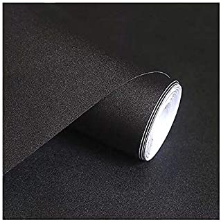 """Black Contact Paper, H2MTOOL Removable Self Adhesive Wallpaper Peel and Stick (17.7"""" x 78.7"""", Black)"""