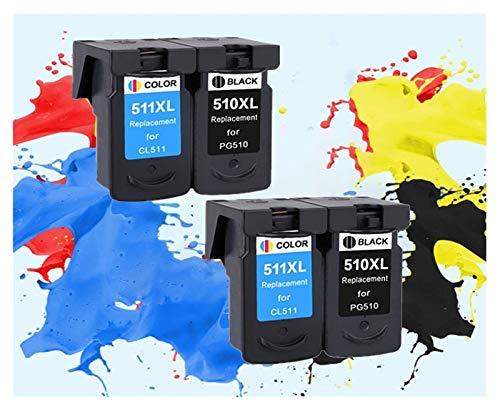 LIUYB Reemplazo PG510 CL511 Cartucho de Tinta aplicable for Canon PG 510 PG-510XL CL 511XL for MP240 MP250 MP260 MP280 MP480 MP490 IP2700MP499 (Color : 2Black 2Color)
