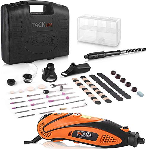 135W Rotary Tool, TACKLIFE Rotary Multi Tool 6 Speeds 10000-32000 RPM, 82 Accessories 4 Attachments and Carrying Case Flex Shaft, Ideal for Crafting Projects Polishing Drilling RTD35ACL