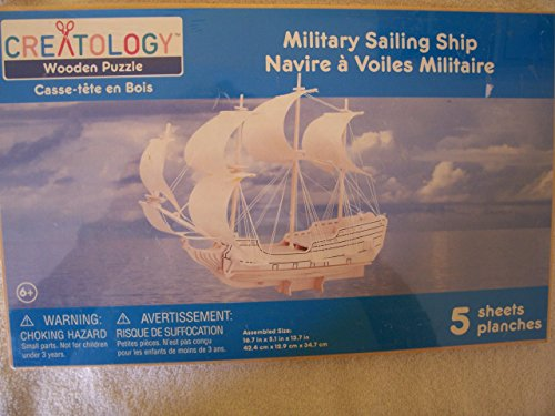 Creatology Wooden Puzzle: Military Sailing Ship 3-D Wood Puzzle by Creatology