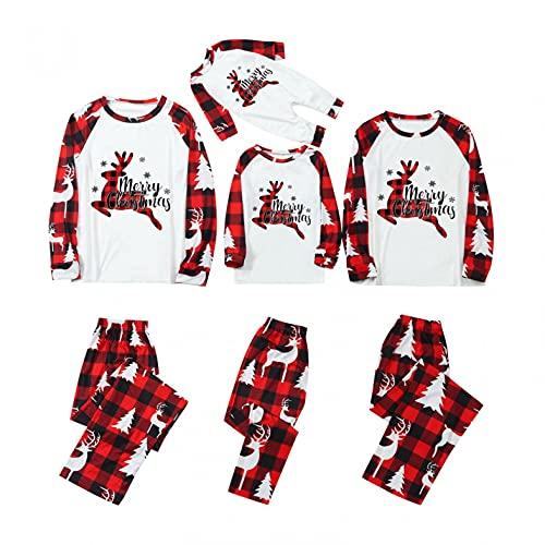 Alueeu Conjunto de Pijamas para Familia Padre Madre Bebé 2 Piezas Camiseta de Manga Larga + Pantalones Largos a Cuadros con Estampado de Alces Navidad