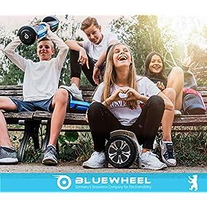 """8.5"""" Self Balance Board Skateboard Elettrico Bluewheel HX510 con Standard di Sicurezza UL2272, Impostazione Colore Tramite App, Bluetooth Altoparlante Motore 700W, LED, con Cover di Alluminio (Nero)"""