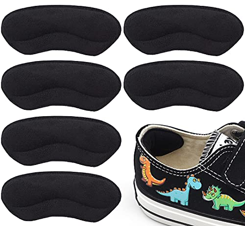 Beautulip Heel Grips for Kids and Women  Add Volume to Too Large Shoe Inserts Girls and Boys Child Adhesive Back of Heel Cushions (Black)