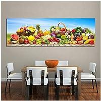 アートパネル ZAJFBH キッチンウォールアート野菜と果物のポスターキャンバス絵画ポスターとプリント写真ダイニングルームの装飾 19.7x59.1in(50x150cm)x1pcs フレームなし フレームなし