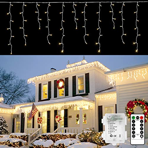DreiWasser Icicle Lights, 2.3M 102 LEDs Snowing Icicle Christmas Lights Outdoor with Remote, Timer, 8 Modes String Fairy Lights for Wedding Party Home Garden Stair Fence(Warm White)