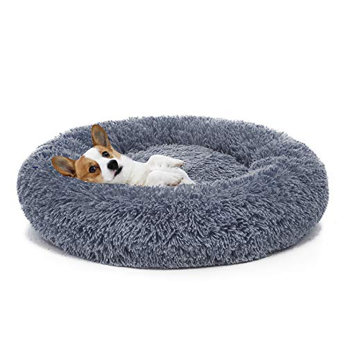 MIXJOY Orthopedic Dog Bed Comfortable Donut Cuddler Round Dog Bed Ultra Soft Washable Dog and Cat Cushion Bed (23'' x 23'') (Grey-Blue)