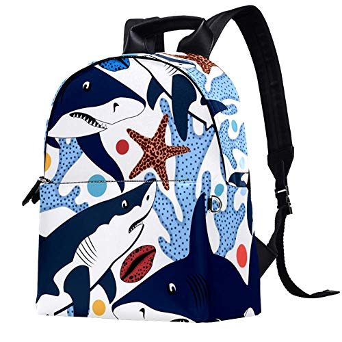 TIZORAX Sharks Shells Starfishes and Corals Colorful Sea Pattern Leather Backpacks Casual Daypacks Travel Bags School Bag for Men Women Girls Boys