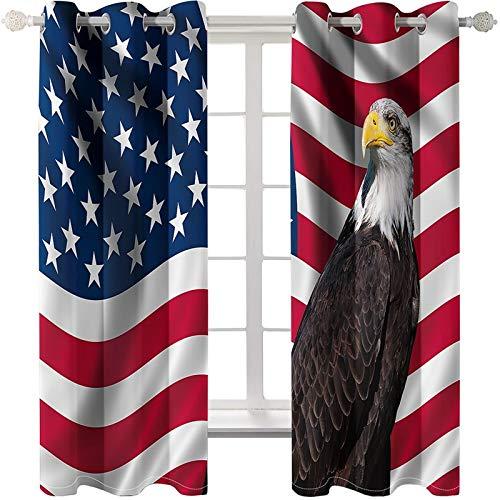 AmDxD 2 paneles de cortinas de poliéster, cortinas de ventana para dormitorio, cortinas de águila con bandera americana, lavable a máquina, azul, rojo, blanco, marrón, 108 x 96 pulgadas