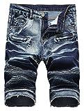Lavnis Men's Casual Denim Shorts Classic Fit Ripped Jeans Biker Shorts Blue 2 30