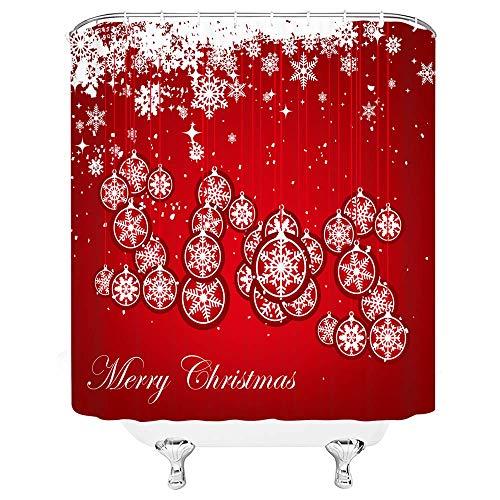 lovedomi Schneeflocke Duschvorhang Weihnachtsdekor Arten von Schneeflocke Blütenblätter Bead Hängen Traum Polka Dots Frohe Jolly Frohes Neues Jahr Weihnachten Dekor Vorhang 72x72IN mit Haken,Weiß Rot