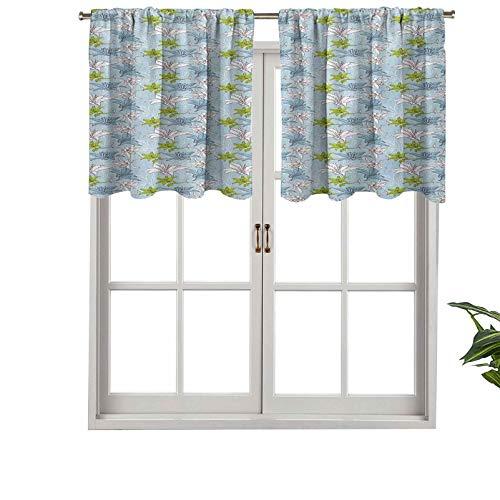Hiiiman Cenefa recta de cortina con bolsillo para barra de alta calidad, diseño de ramo de lirios con inspiración vintage, juego de 1, 91,4 x 45,7 cm, ideal para cualquier habitación y dormitorio