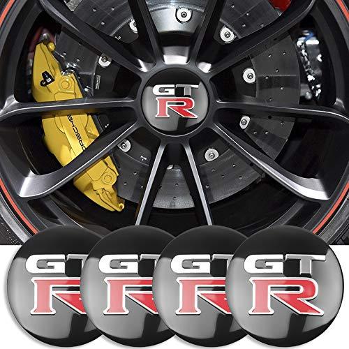 4PSC 56mm Rueda Central Caps Hood Tronco contrajón Capts Caps GTR Logo para Nissan- Juke Note Hoja Qashqai Tiida X-Trail Teana Altima Accesorios para automóviles Etiqueta engomada del centro de ruedas