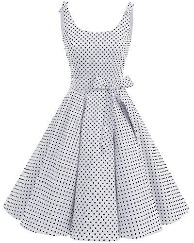 Bbonlinedress Donna Vestiti Vestito 1950 Festa Cocktail Vintage Rockabilly White Black DOT M
