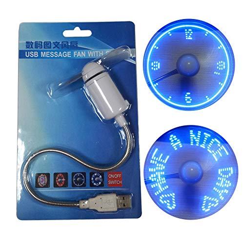 LbojailiAi Reloj redondo creativo de mano USB Mini ventilador de refrigeración con luz LED regalo
