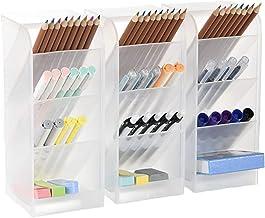 3 Pcs Big Desk Organizer- Pen Organizer Storage for Office, School, Home Supplies, Translucent White Pen Storage Holder, H...
