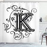 Ambesonne Letra K cortina de ducha, K mayúscula con un diseño de letras medievales del alfabeto patrón, tela de tela para decoración de baño con ganchos, 75 pulgadas de largo, negro gris blanco