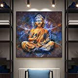 Dios Buda lienzo impresión arte de pared moderno Buda lienzo arte pinturas en la pared lienzo cuadros budismo carteles decoración de pared 50x50 CM (sin marco)