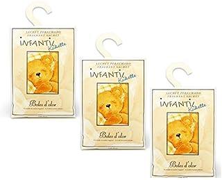 BOLES D'OLOR Pack of 3 Large Scented Sachet Teddy Bear Kukette with Hanger, Fragrance Citrus, Lavender