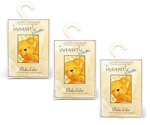 BOLES D OLOR Pack of 3 Large Scented Sachet Teddy Bear Kukette with Hanger, Fragrance Citrus, Lavender