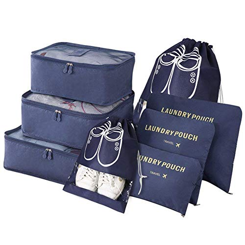 Vicloon Travel Organiser Packing Bags,8 PCS Travel Packing Cubes Set for Clothes Shoes Travel Luggage Organizers Storage Bags (Dark Blue)