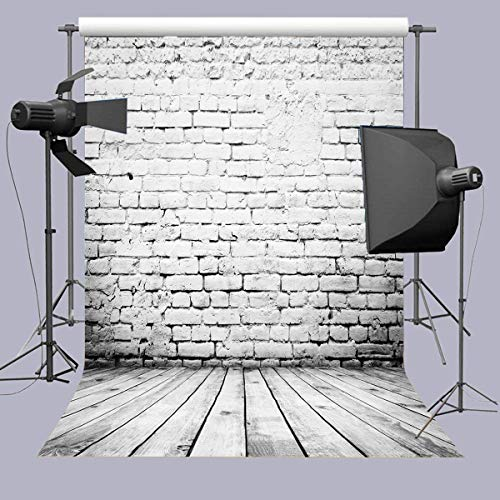 Daniu 5x7FT Photography Backdrops White Brick Wall Wooden Floor Background for Kids Product Photo Shoot Professional Photographer Props -150cmx210cm