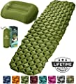 HiHiker Camping Sleeping Pad + Inflatable Travel Pillow – Ultralight Backpacking Air Mattress w/Compact Carrying Bag –Sleeping Mat for Hiking Traveling & Outdoor Activities (Green)