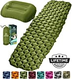 HiHiker Camping Sleeping Pad + Inflatable Travel Pillow – Ultralight Backpacking Air Mattress...