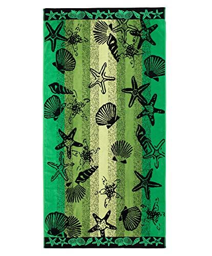 Gözze Toalla de Playa, 100% Algodón, 90 x 180 cm, Diseño de Estrellas de mar y Conchas, Verde/Negro, 10024-82-90180