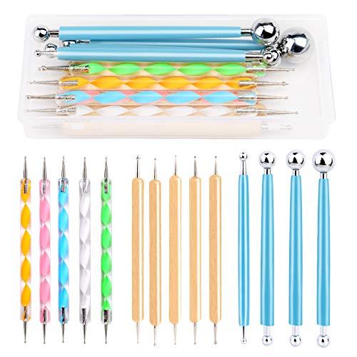 Riddur 14 Stücke Punktierung Werkzeug Set, Punktierung Set, Punktierung Stifte Set mit Polymer Clay Werkzeug, Aufbewahrungsbox, Punktierung Tools, Nagel Art Stifte für DIY Rock Malerei Nagel Design