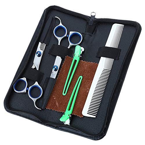 HPDOM Ciseaux Coiffure Effileur, Professional Barber Sharp Hair Scissors Hairdressing Shears Kit with Haircut Accessories in Leather Case, Ergonomic Design, Resistant Rust, Ant-Slip