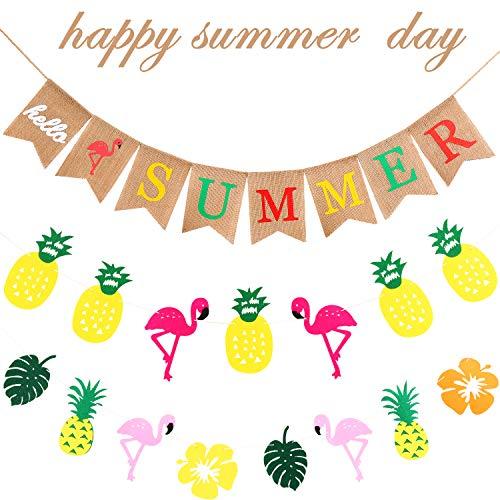 Conjunto de 3 Piezas Decoración de Banner de Verano, Incluye Pancarta Hello Summer, Banner de Guirnalda de Diseño de Flor Piña y Flamenco para Playa Hawaiana de Luau Cumpleaños Boda Fiesta