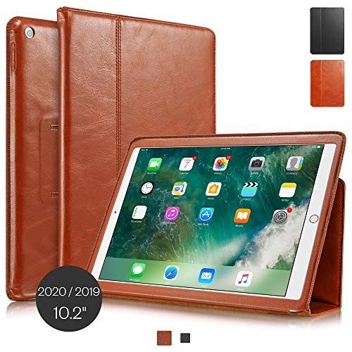 KAVAJ Case Leather Cover'Berlin' works with Apple iPad 2019 10.2' Cognac-Brown Genuine Cowhide Leather with Built-in Stand Auto Wake/Sleep Function. Slim Fit Smart Folio Covers
