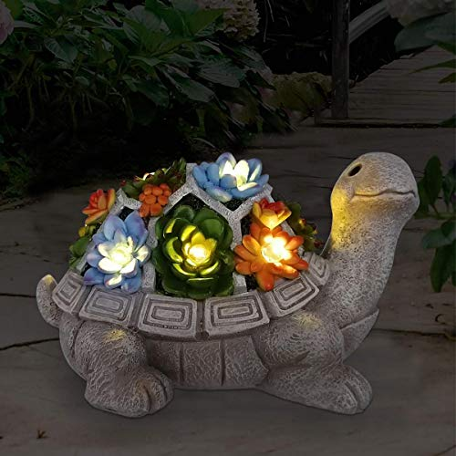 Nacome Solar Garden Statue Turtle Figurine with Succulent and 7 LED Lights - Outdoor Lawn Decor Garden Tortoise Statue for Patio, Balcony, Yard, Lawn Ornament - Unique Housewarming Gift(Turtle)