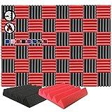 Arrowzoom 48 Paneles acustico absorcion sonido Cuna Wedge 25x25x5cm Espuma acustica aislamiento acustico estudio de grabacion Casas Estudios Azulejos Incombustibles Insonorizados Negro Rojo