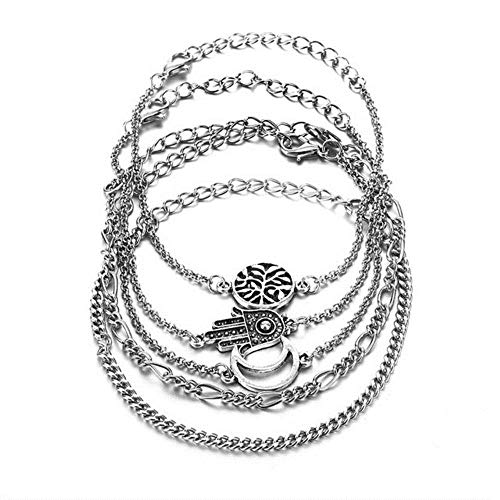 Bohemia Ancient Silver Moon Hand Tree Bracelet Set Fashion Multilayer Geometry Feminine Bracelet 2019 Jewelry Gift