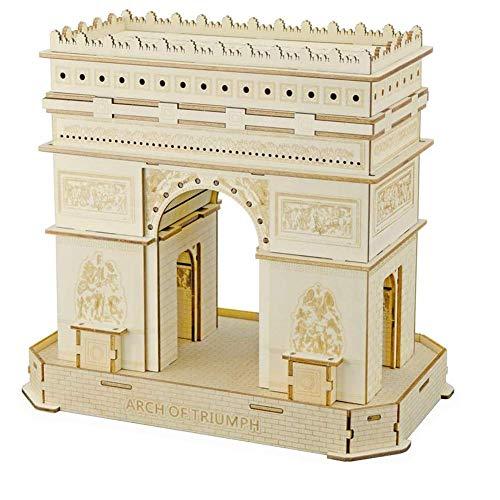 3D Puzzle, Arc de Triomphe, hölzerne Modell Kits Montage, DIY Gebäude Modell Kits Geschenk und Andenken für Erwachsene und Kinder, 95 Stück
