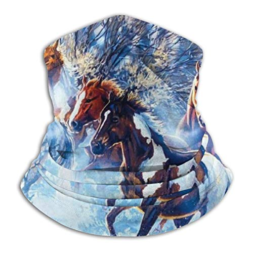 Multi-Function Elastic Fleece Neck Gaiter, Horse Running On Snow In Winter Animals Painting Half Face Scarf Scarf Buff, Cold Weather Thermal Fashion Seamless Sweatband for Farm Fishing