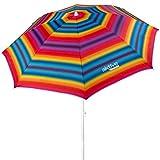 Aktive 62217 - Sombrilla de playa, Ø180 cm, con protección UV filtro 50, mástil Ø22-25 mm, incluye bolsa para transportarla, Sombrilla playa plegable, Aktive Beach