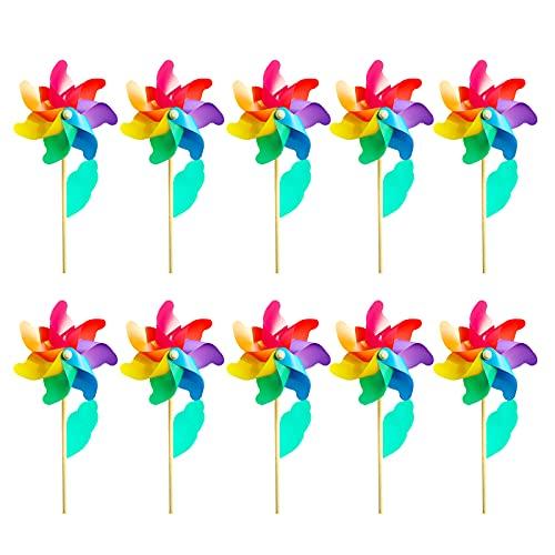 Hyxodjy 10er-Set Windrad Windmühle Deko Garten Windrad Kinder Gartenstecker Regenbogen UV-Beständig und Wetterfest& Vogelschreck Bunt- Windrad: Ø12cm Standhöhe: 25cm Fertig Aufgebaut inkl Standstab