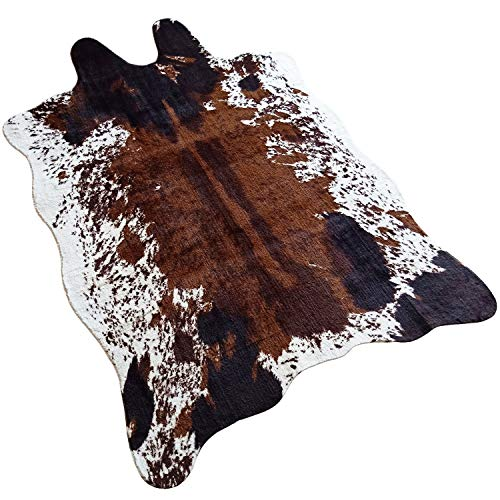 JACCAWS Natural Pattern Tricolor Faux Cowhide Rug Large (4.6ft x 6.6ft)- Faux Cow Skin Rug Animal Hide Rugs for Home Office Livingroom,Bedroom. (Cow)