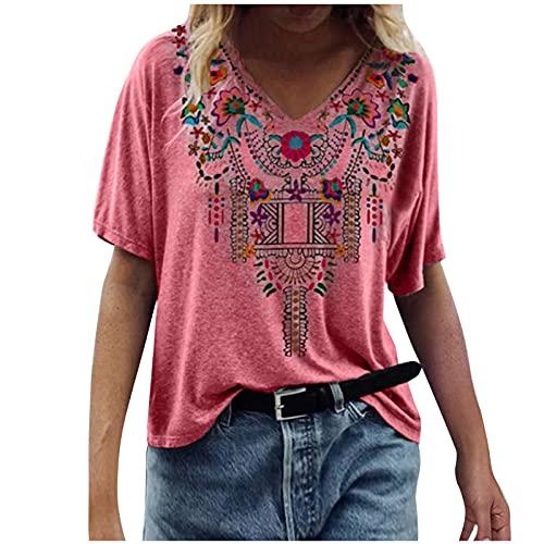 Dasongff Camiseta de manga corta para mujer, talla grande, cuello en V, suelta, túnica para mujer, estilo informal, moda