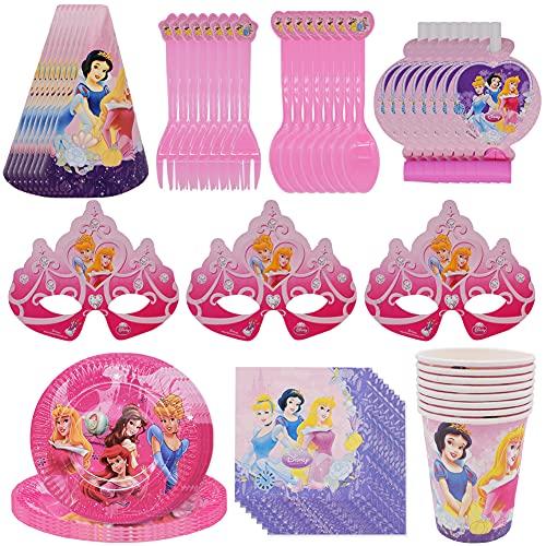 Party Vajilla,CYSJ 72 PCS Princesse Vajilla de Cumpleaños Desechable, Vajilla de Fiesta TemÁTica de Disney Plato Taza Servilleta Tenedor Cuchillo Mantel Banderín