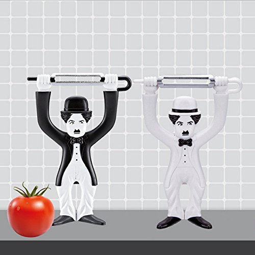 RENCALO Charlie Chaplin Peeler Vegetable Peeler Expression Face Chaplin Design Kitchen Utensils Gadgets-Black